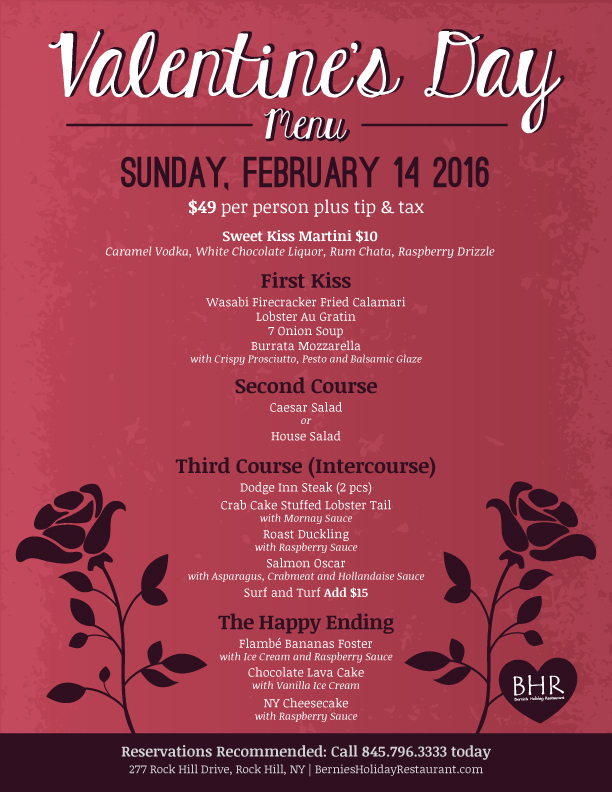 Valentine S Day Menu Bernies Holiday Restaurant
