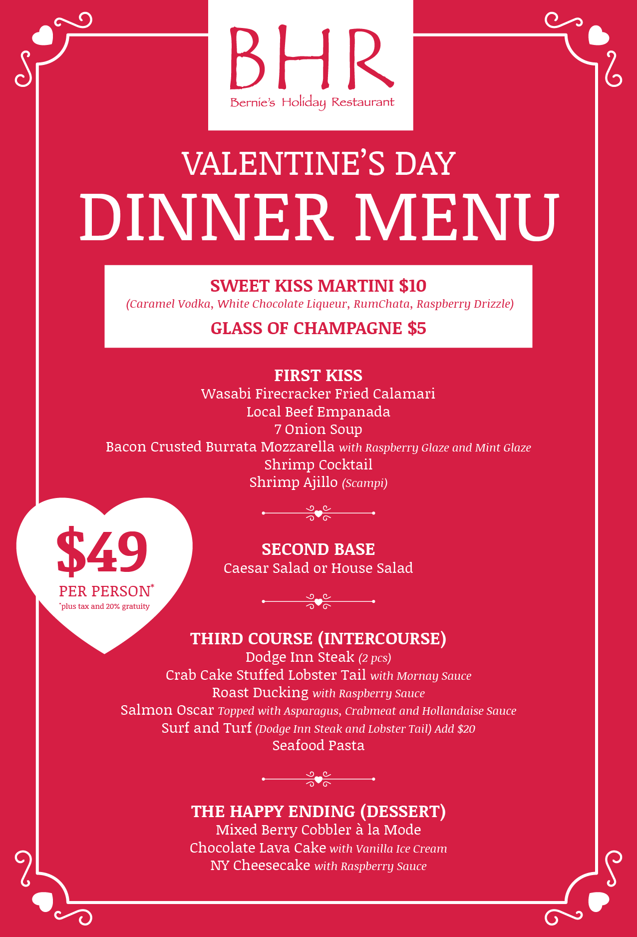 Valentine S Day Dinner 2017 Bernies Holiday Restaurant